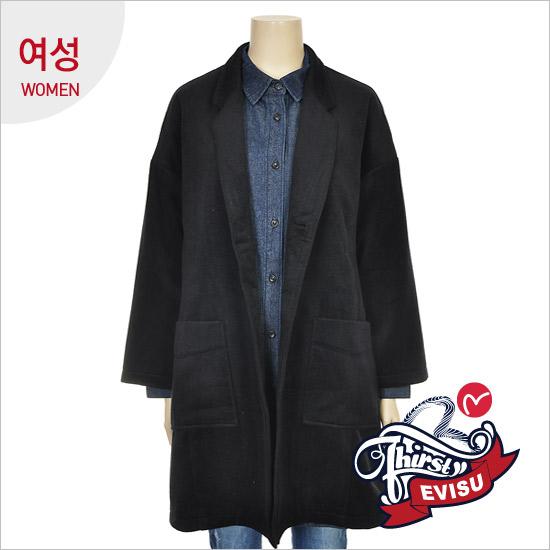 Women _ Oversized FIT strain Check Long Jacket_EN4JK051_NA