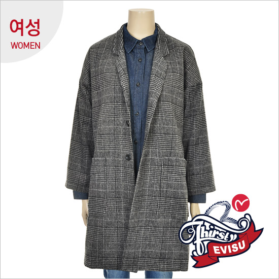 Women _ Oversized FIT strain Check Long Jacket_EN4JK051_GR