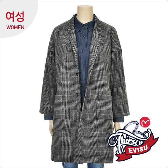 Women _ Oversized FIT strain Check Long Jacket_EN4JK051_GR