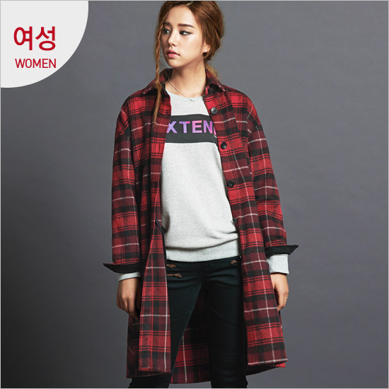 Print long length women lettering _ Brushed Check Shirt _EN4NB062_RE