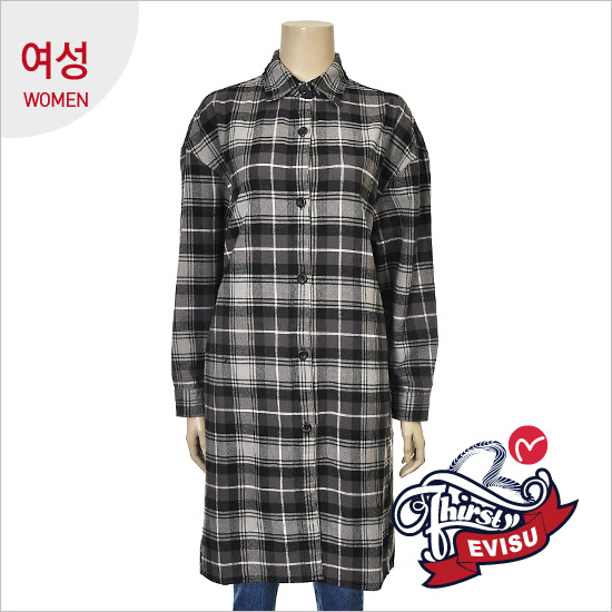 Print long length women lettering _ Brushed Check Shirt _EN4NB062_BK