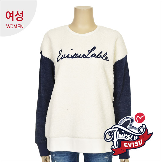 _ Women T-shirt sleeve color lettering embroidery seen FUR man-to-man _EN4RT052_IV
