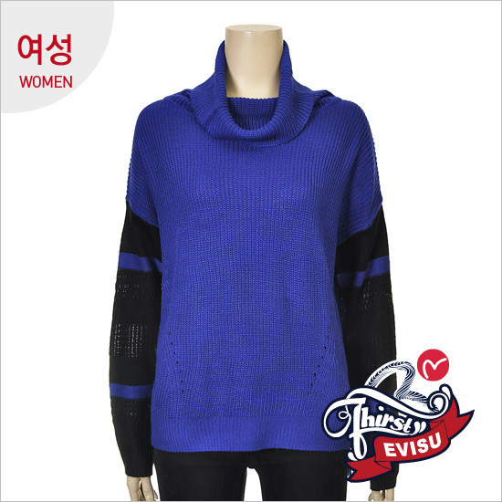 Women _ retail scheme loose fit Turtleneck One Piece Pullover_EN4SW055_BL