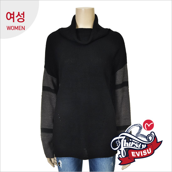 Women _ retail scheme loose fit Turtleneck One Piece Pullover_EN4SW055_BK