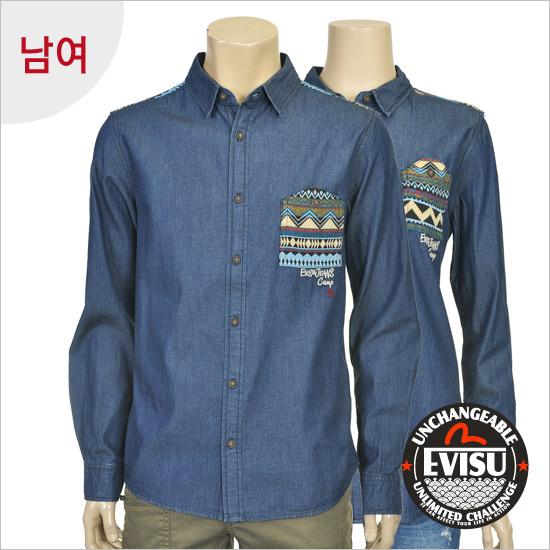 Print York public _ denim shirt _EN1JN301_GN