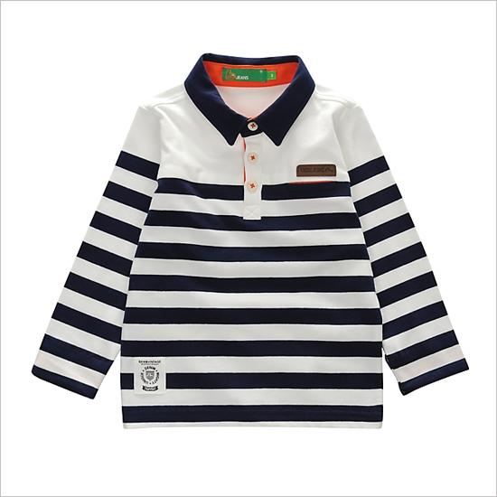 [EVISU] EKM1PT001_NA Kids Stripe Polo Tee - KIDS
